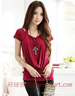 2011新款夏装韩版女装挂脖假两件休闲T恤5006