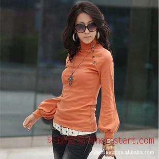 2011韩版秋季女装新品 时尚OL职业修身显瘦高领灯笼长袖T恤5705