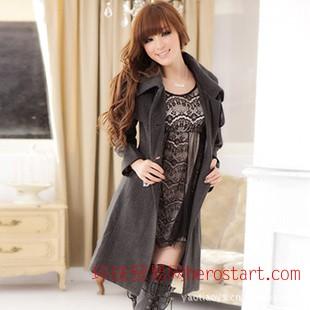 2011冬季爆款 韩版双排扣修身呢子大衣7593