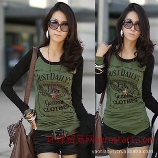 2011韩版新款秋装女装新品长款插肩长袖拼色休闲字母T恤4871