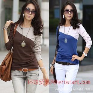 2011韩版新款秋季女装新品 时尚拼色显瘦长袖休闲T恤0894