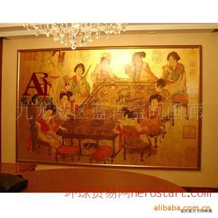 现代酒店装饰,金箔人物画,山水画,