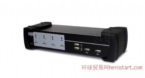 台湾制造Acafa KU04A 4口 USB介面VGA KVM电脑切换器 - 内建2口USB2.0 HUB 支持音频
