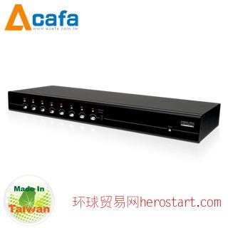 台湾制造Acafa KF108P 8端口 双介面 IP KVM 电脑切换器