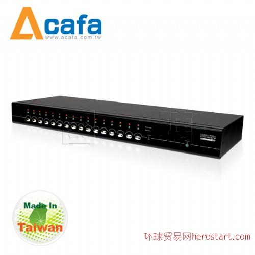 台湾制造Acafa KF116P 16端口 双介面 IP KVM 电脑切换器