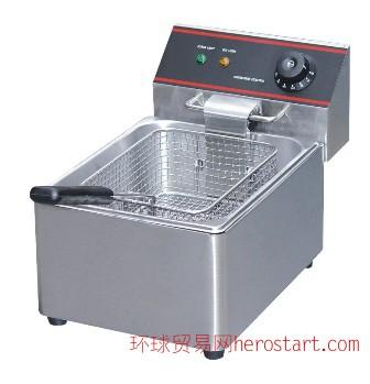 酒店厨房设备:单缸单筛电炸炉