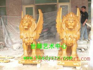 狮子雕塑 蹲狮雕塑 玻璃钢雕塑