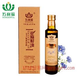 内蒙古万利福 冷压榨亚麻籽油 初榨脱蜡 食用胡麻油 250ml/瓶