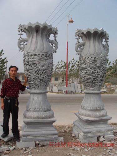 嘉祥石雕,石雕宝瓶,花瓶,石鼎宝鼎礼器,