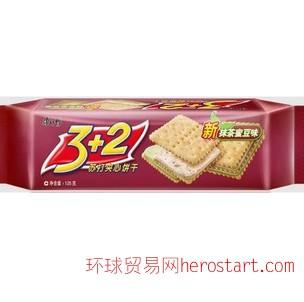康师傅3+2夹心饼 125g 抹茶密豆味
