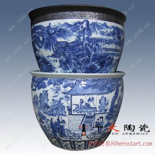 陶瓷缸,手绘山水人物陶瓷缸