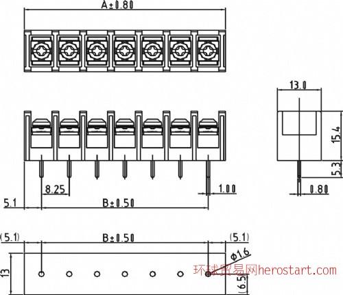 8.25mm间距美规栅栏式接线端子