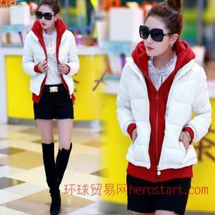 2014冬季新款韩版修身羽绒棉外套 短款棉衣女式连帽棉服假两件潮