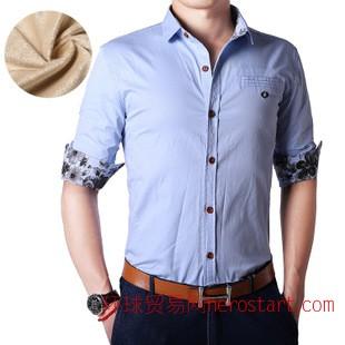 秋冬男衬衫 男加绒衬衫 韩版男式衬衫加绒 男士衬衫 加绒衬衫男