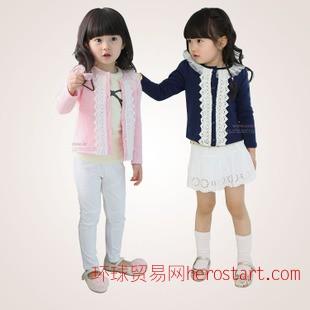 网络爆款 韩版女童圆领外套 新款春秋长袖上衣 儿童蕾丝开衫