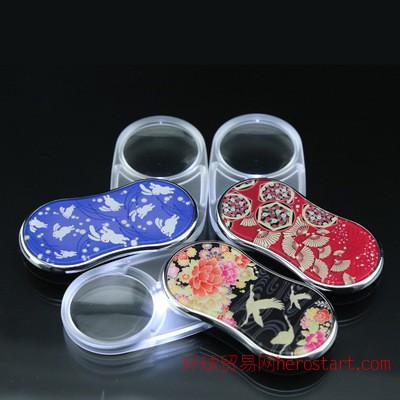 日本原装进口花纹360旋转手持折叠便携放大镜包邮支撑混批