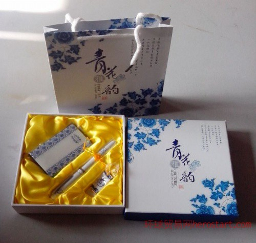 青花瓷烤漆笔+4G优盘+名片夹 青花系列