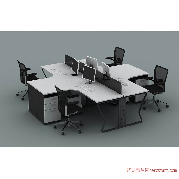 办公家具L型蝴蝶钢架四人位办公桌广州促销