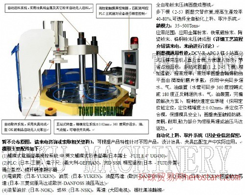 金属/陶瓷/钨钢粉末压铸成型机(分标准、单滑、双滑、多工位转盘机,锁模力15T~500T)