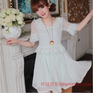 2012韩版夏装新淑女大裙摆蕾丝裙手工钉珠蕾丝领洋装可爱女连衣裙