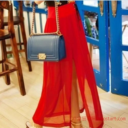 2012韓國夏新 波西米亞風開叉設計時尚高腰高鉚釘系帶雪紡半身裙