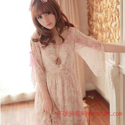 2012夏装新款修身日系高腰裙雪纺裙女装碎花荷叶边超公主可连衣裙