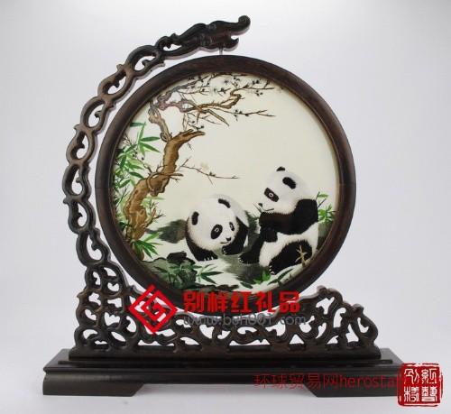 熊猫·台屏·苏州刺绣·商务礼品
