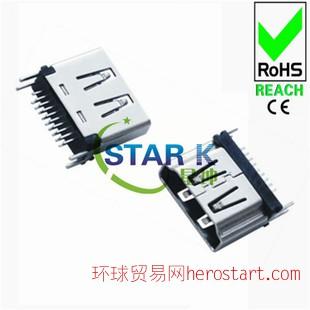 防水usb接插件连接器,usb连接器连接器HDMI A-F 直式 DIP