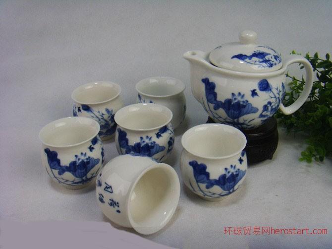 青花瓷套装礼品,景德镇陶瓷茶具,陶瓷批发厂
