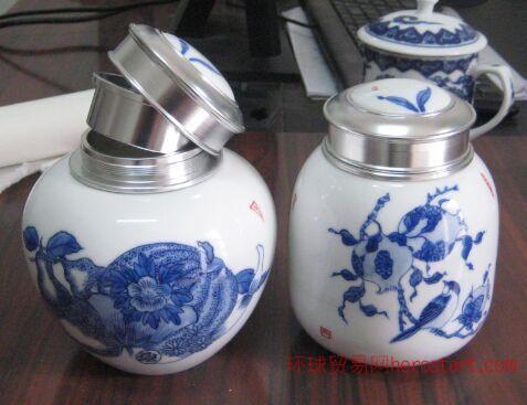 万业陶瓷生产厂家供应青花陶瓷茶叶罐