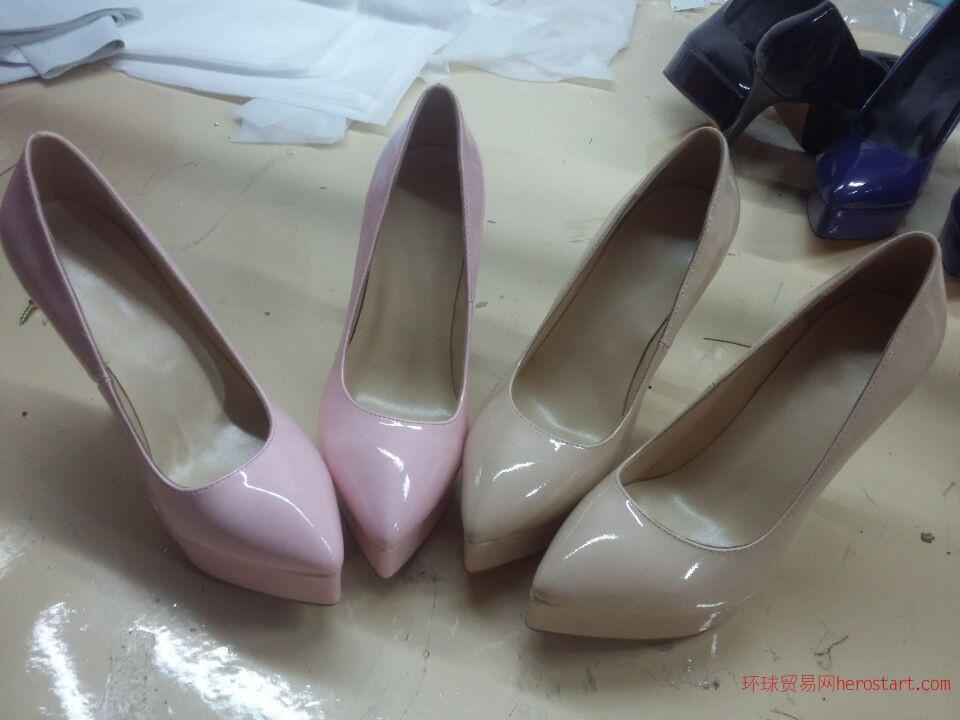 来样订做欧洲外贸时尚高跟女皮鞋