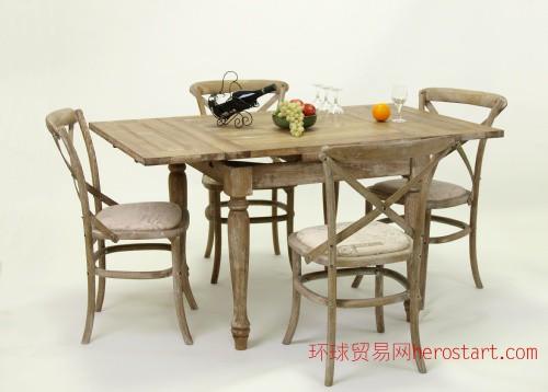 杭州厂家批发代理法式乡村餐桌 可拉伸实木做旧餐桌