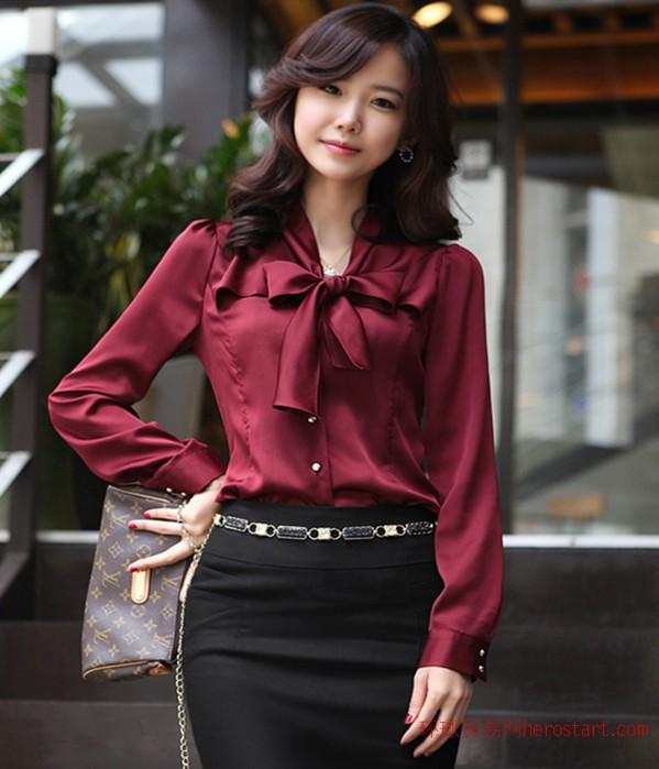 新款大码职业女装衬衫时尚韩版修身长袖弹力雪纺衬衣