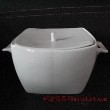 骨质瓷方品锅,汤窝,陶瓷汤锅,唐山骨质瓷工厂出品白胎