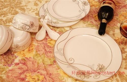 20头骨瓷餐具银百合,唐山富钜陶瓷有限公司批发