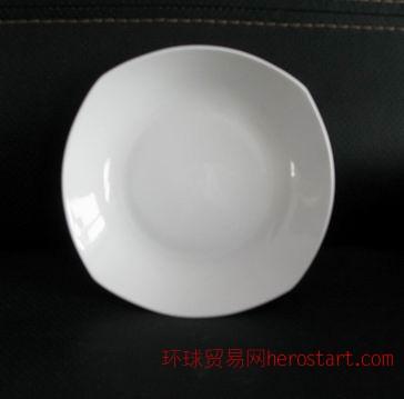 骨质瓷三角形汤盘,水果盘,酒店用盘,唐山骨质瓷白胎,唐山骨质瓷工厂
