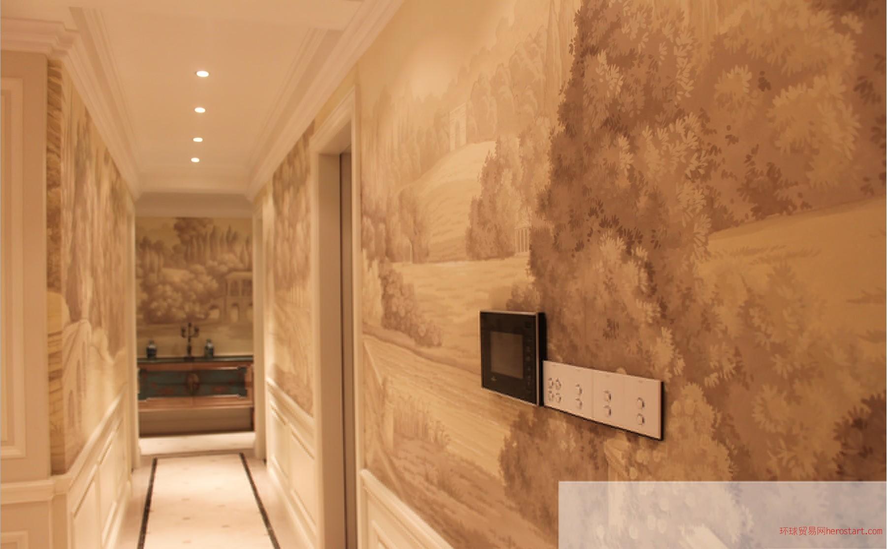 丝绸手绘壁纸 真丝手绘壁纸 手绘刺绣壁纸
