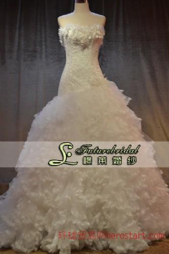婚纱2013新款婚纱新娘韩式婚纱韩版公主婚纱斜肩单肩婚纱花朵