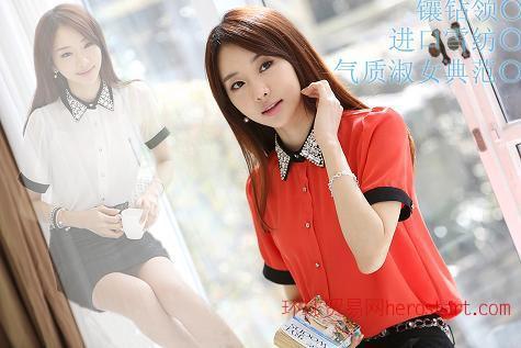2013韩版新款 气质淑女 镶钻领雪纺短袖衬衫