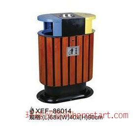 户外小区公园环保钢木分类垃圾桶、垃圾箱、果皮箱