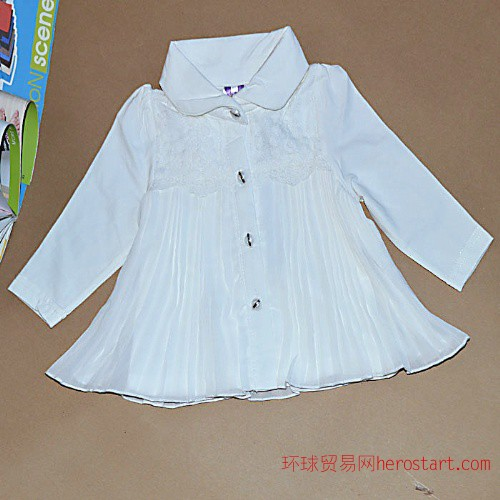 衬衫长袖秋季衬衫网纱宝宝娃娃领雪纺衫童t恤