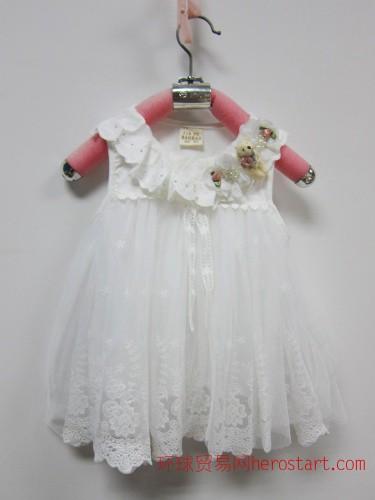 现货金富宝宝夏装新款可爱熊仔蕾丝韩版童装公主裙