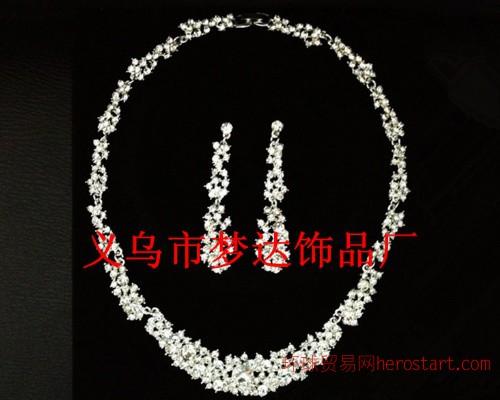 梦达饰品 M-14新娘韩式合金 水钻银色套链
