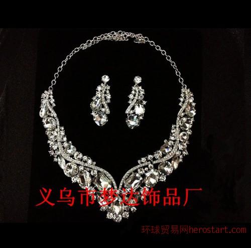 梦达饰品 M-13欧美奢华v形水晶套链