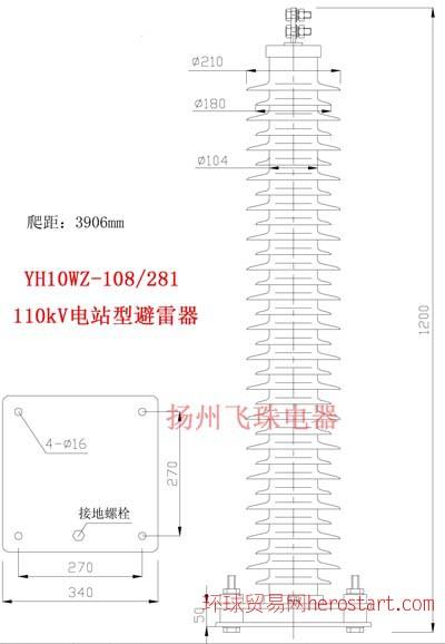 110kV飞珠牌避雷器YH10WZ-108