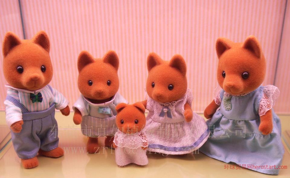 提供森林家族狐狸塑胶玩具植绒植毛加工