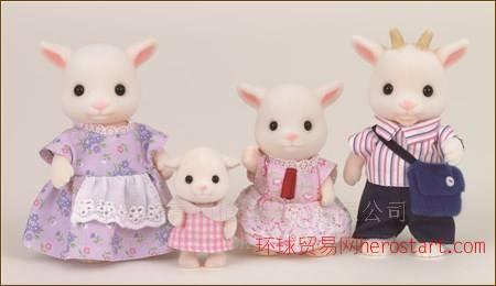 提供森林家族山羊塑胶动物玩具公仔植绒植毛加工
