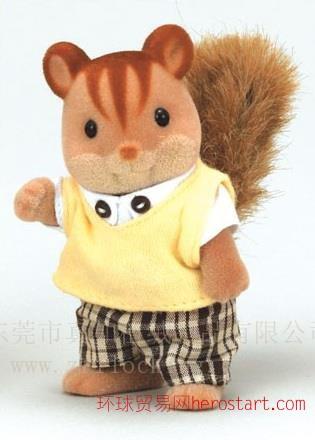 植绒加工厂儿童动物森林家族玩具松鼠玩具植绒植毛加工