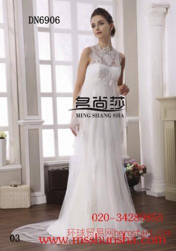 婚纱礼服新款2014蕾丝齐地挂脖新娘婚纱 名尚莎