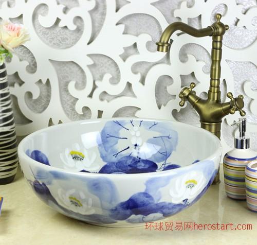 景德镇华欣瓷业-蓝荷艺术洗脸盆